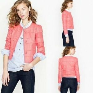 J. Crew Coral Cropped Fray Jacket